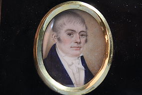 English School (18/19th C.) Miniature Portrait on Ivory