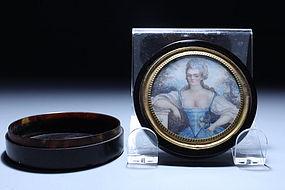 19th C. Tortoise Shell Box w/ Miniature Ivory Portrait,