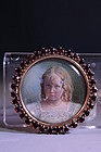 10K Gold Brooch w/ Miniature Portrait Painting on Ivory