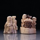 Pair of Japanese Carved Ivory Netsukies, Mid 20th C.