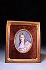 19c Miniature Portrait Painting on Ivory,