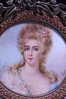 19c French Miniature Portrait Painting on Ivory.