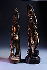 Pair of Antique African Carved Ivory Figures, 19th, c.