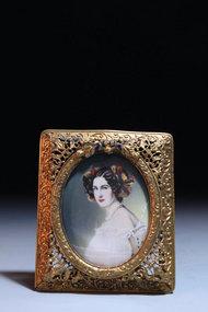 19th C. Italian Miniature Portrait Painting on Ivory,