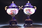19th c. PAIR OF VICTORIA CARLSBAD PORCELAIN URN