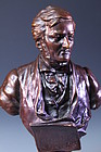 European Bronze Bust of Musician,