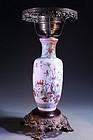 Chinese Famille Rose Porcelain Vase/Lamp,
