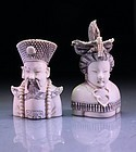Pair of Chinese Carved Ivory Snuff Bottles,