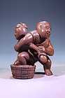 FINE JAPANESE BRONZE FIGURAL GROUP,