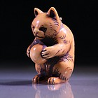 FINE JAPANESE CARVED IVORY NETSUKE: Bear,