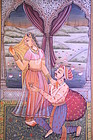 Unusual Indian Miniature Gilt Painting on Marble Panel,