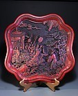 Finely Carved in Relief Chinese Cinnabar Tray, 19th c.