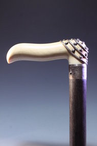 Fine Carved Ivory & Silver Dress Cane, Ca 1890.