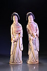 Fine Japanese Carved Ivory Figures; Pair of Geisha