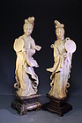 Pair of Chinese Hardstone Guanyins Figures,