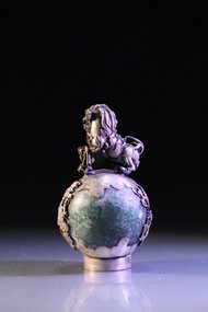 Chinese Carved Jade with Silver Foo Lion Finial,