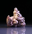 Carved Ivory Netsuke: Figures & Dragon Fish
