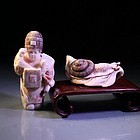 Fine Japanese Carved Ivory Netsuke Group,