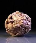 Superb Japanese Carved Ivory Neatsuke Fig,  Zodiac Ball