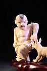 Japanese Carved Ivory Okimono, Boy & Dog