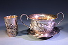 Chinese Gilt Silver Set,