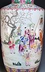 Chinese Famille Rose Rouleau Enameled Porcelain Vase,