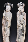 Large Chinese Carved Ivory Figures; Emperor and Empress