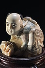Japanese Carved Ivory Netsuke Size Figure,