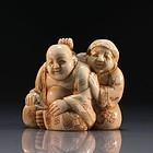 Japanese Carved Ivory Netsuke Figure.