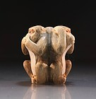 Fine Japanese Carved Ivory Netsuke/Size, Monkeys.