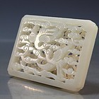 Chinese Double Side Carved White Jade Plaque.