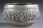 Antique Burmese Repousse Silver Bowl.