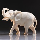 Chinese Carved Ivory Figure; Elephant