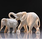 Chinese Carved Ivory Figural Group; Elephant Family