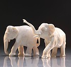Chinese Carved Ivory Figural Group; Elephants