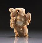 Japanese Carved Ivory Netsuke/Size Figure; Hotei.