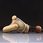 Japanese Carved Bone Netsuke, Mushroom. Maiji Pd