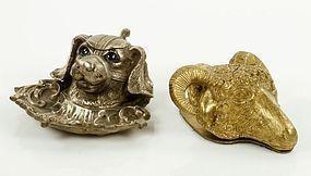 Figural Brass Inkwell & Letter Holder.