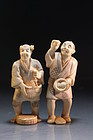 Japanese Carved Ivory Figures; Farmers.