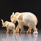 Fine Japanese Carved Ivory Figures, Elephants.