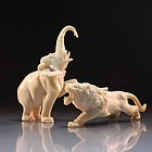 Fine Japanese Carved Ivory Figure, Bear & Lion.
