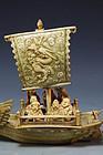 Japanese Carved Ivory Figure; Dragon Boat. Meiji Pd.