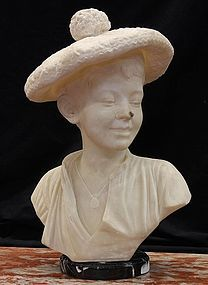 Continental Alabaster Bust of a Boy