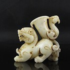 Chinese Natural Hetian Jade Carving; Foo Dog & Bird.