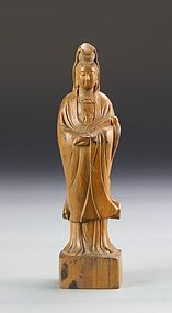 Chinese Carved Boxwood Carving; Guanyin.