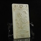 Chinese Natural Hetian Jade Pendant; Lotus Flower.