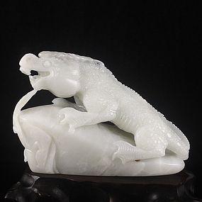 Chinese Natural Hetian Jade Carving - Lizard
