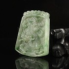 Fine Chinese Natural Jadeite Pendant; Dragon & Phoenix.