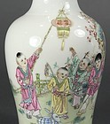 Superb Chinese Enameled Porcelain Stick Neck Vase.