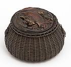 Japanese Bronze Inkwell, Meiji Pd.
